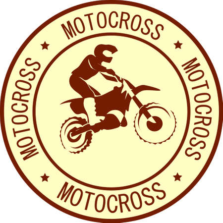 Motocross endure background. Silhouette of a man who rides on a motorbike .