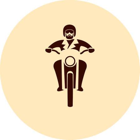 brutal: Motorcycle rider. Custom chopper vintage brutal moto, vector illustration