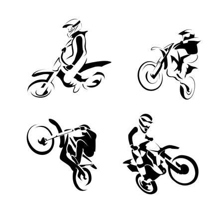 Off road sport Motorcycle, Motocross Enduro set. vector illustration.