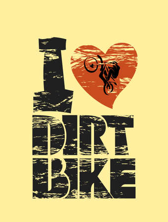 dirt bike: I like dirt bike black red white print vector illustration Illustration