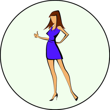 young woman legs up: Modern business woman with thumbs up, isolated over a white background vector illustration Illustration