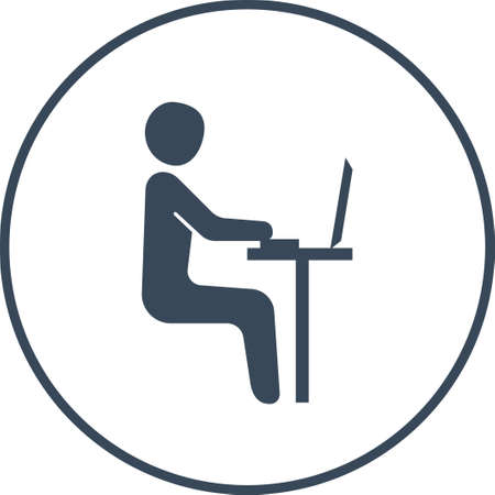 sales manager: Businessman in the office. Worker on pc. flat stick icon. Vector illustration