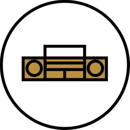 Tape recorder icon. Tape recorder logo isolated on white background. Flat line vector illustration. Illustration