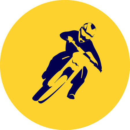 who: Motocross enduro background. Silhouette of a man who rides on a motorbike . Illustration.