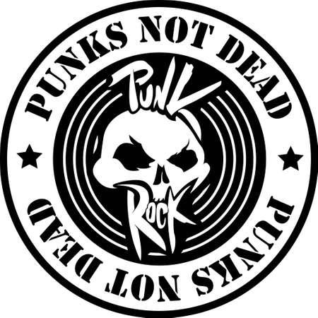 punk rock: Punk Rock badge. Vector Illustration