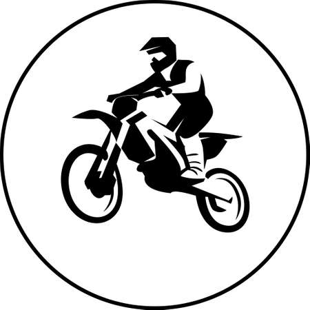 Motocross enduro background. Silhouette of a man who rides on a motorbike . Vector illustration.