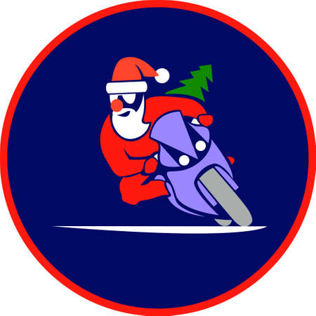 Santa Claus on a motorcycle vector illustration Illustration