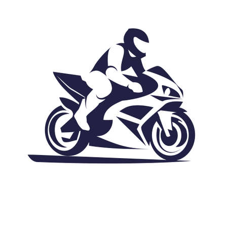 Vector illustration of motorcycle racer on sportbike Иллюстрация