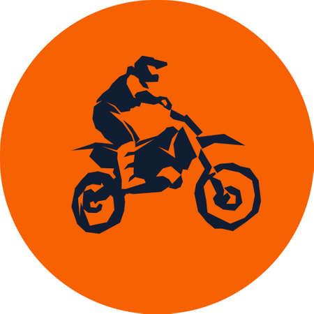 fmx: Motocross fmx biker silhouette sticker design Vector illustration