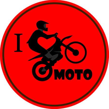 Rider on motorcycle I like moto sign Vector illustration. Stock Photo