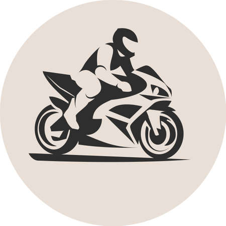 Vector illustration of motorcycle racer on sportbike Фото со стока