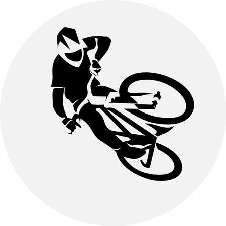 Vecteur du sport coureur cycliste extrême saut