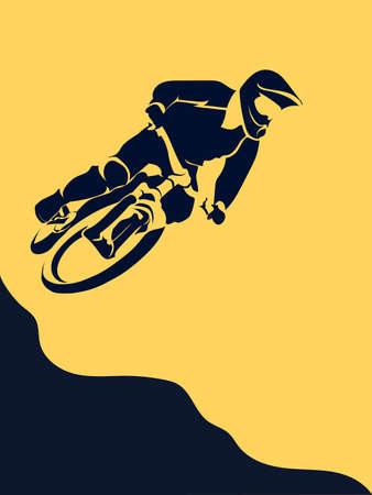 A Vector sport bicycle racer extreme jump illustration.