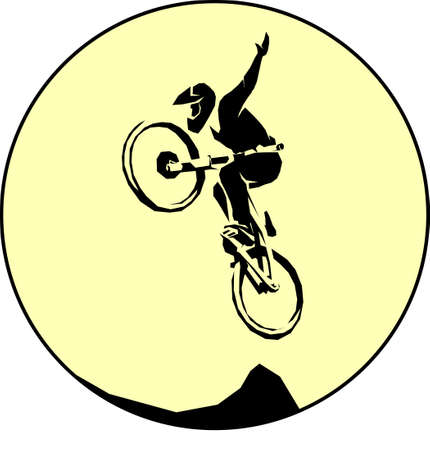 Mtb cyclist silhouette dirt jumping trick Stock Vector - 89266675