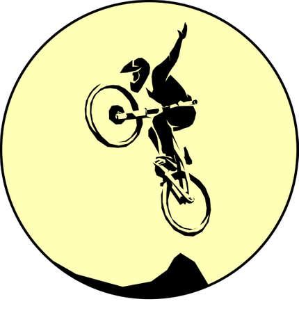 Mtb cyclist silhouette dirt jumping trick