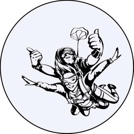 Parachutiste homme et femme Vecteurs