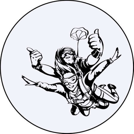 Skydiver man and woman Vector Illustration