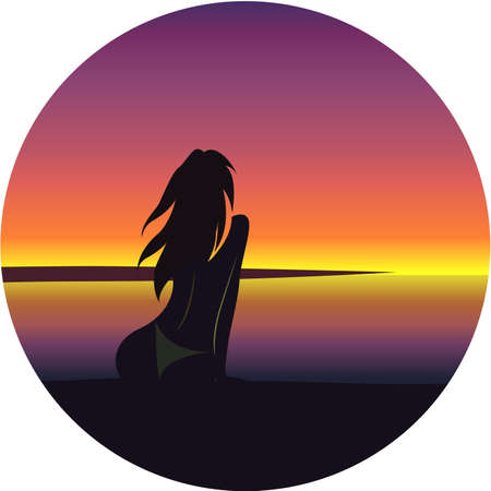 Vector illustration of girl on beach.