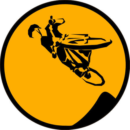 Vector sport bicycle racer extreme jump illustration Ilustrace
