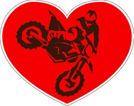 I like Motocross. poster sticker print design. driver silhouette. Vector illustration