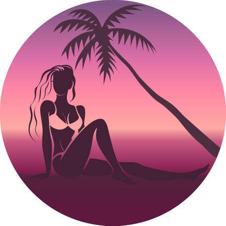 Woman chilling on seaside Çizim