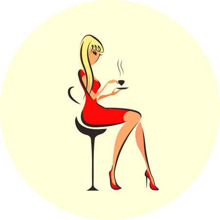 Elegant beautiful woman Stock Illustratie