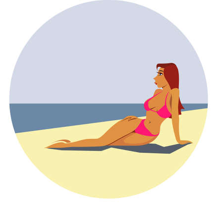 pretty young woman rest on seaside Vector illustration