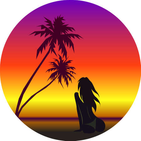 Vector illustration of girl on beach and summer background with palm, sea surf and sunset.