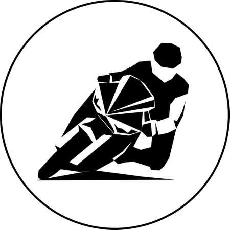 motorcycle racer on sportbike Vector illustration Çizim