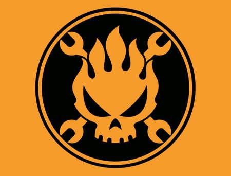 Flame skull cartoon vector vector sticker illustration