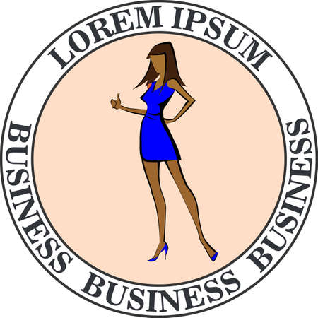 Businesswoman in a blue dress making an okay sign icon