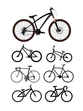 Bicycle set 7x road and offroad bke isolated vector illustration