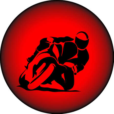 Vector illustration of motorcycle racer on sportbike Çizim
