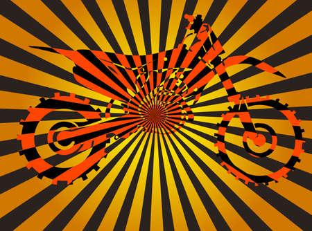 Optical illusion of volume with moto bike vector Stok Fotoğraf