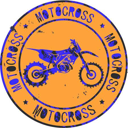Motocross club icon stamp print design logo Stok Fotoğraf