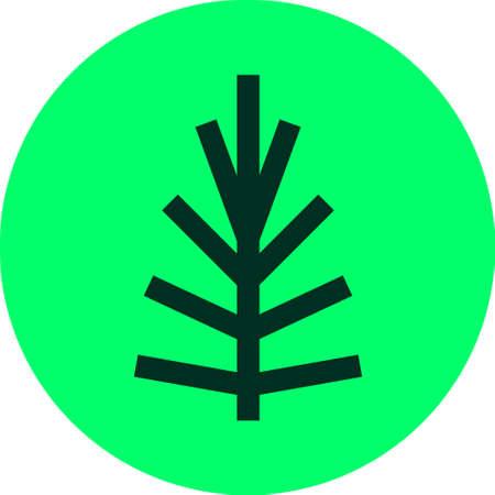 Pine Tree Lineart Logo simple icon line flat Çizim