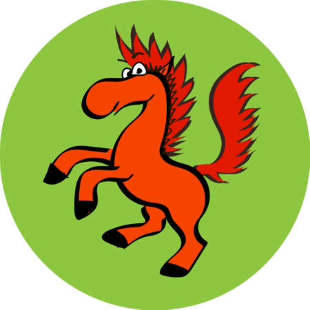 Smiling Horse Cartoon Mascot Character Vector Illustration Isolated in round