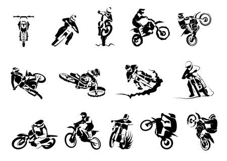 Extreme motorbike big vector set 14x, motocross enduro offroad motorcycles Vektorové ilustrace