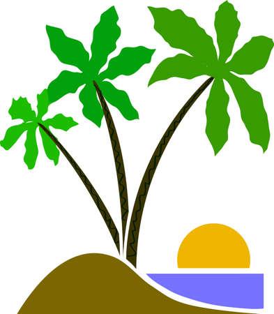 Three Palm tree cartoon vector eps emblem