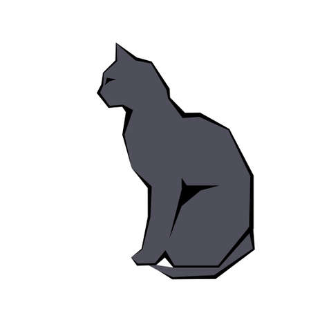 Gray silhouette of cat. vector sign illustration