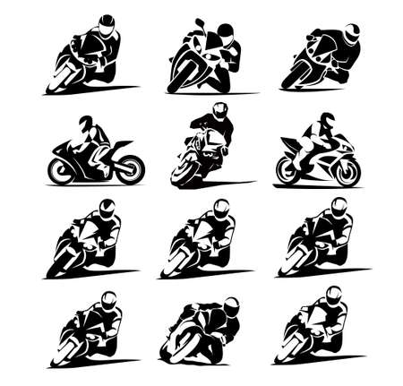 12x set Motorcycle Icon. Sportbike sign isolated on white background. Vector illustration. icon