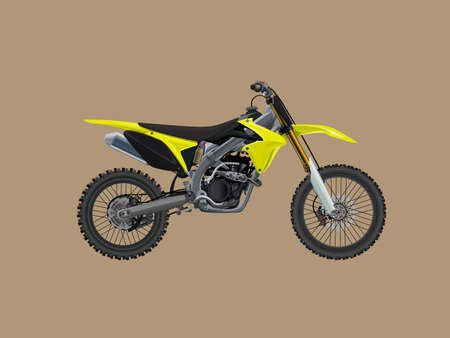 Sport motorcycle motocross technical drawing. High detalisired colorful Vector illustration.