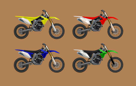 Sport motorcycle motocross technical drawing set. High detalisired colorful Vector illustration.