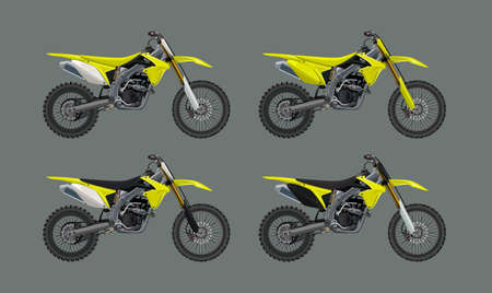 Sport motorcycle motocross technical drawing. High detalisired colorful Vector 4x set illustration.