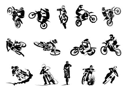 Conjunto de vectores grandes de motos extremas 14etc, motocicletas todoterreno enduro de motocross dirtbike Ilustración de vector
