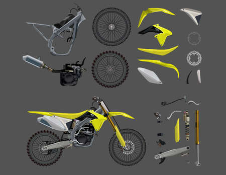 motorcycle illustration garage parts, Motorcycle collection vector