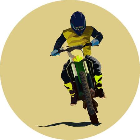 Racer sport motocross biker fast ride vector illustration