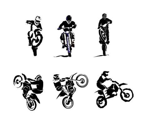 Extreme motorbike big vector set 6etc, motocross dirtbike enduro offroad motorcycles