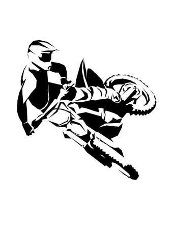 Racer sport motocross biker fast ride vector illustration Vektoros illusztráció