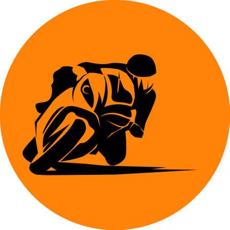 racer ride sportbike fast vector icon Illustration